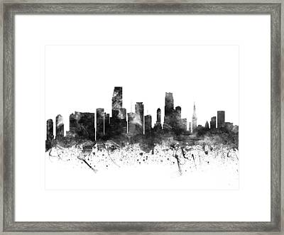 Miami Florida Cityscape 02bw Framed Print by Aged Pixel