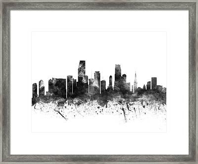 Miami Florida Cityscape 02bw Framed Print