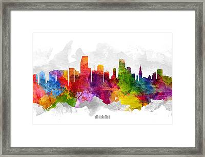 Miami Florida Cityscape 13 Framed Print by Aged Pixel