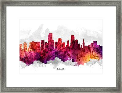 Miami Florida Cityscape 14 Framed Print by Aged Pixel