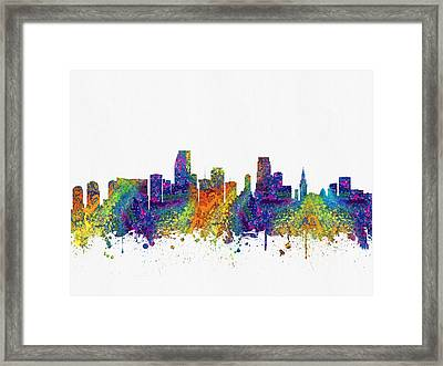 Miami Florida Skyline Color03 Framed Print by Aged Pixel