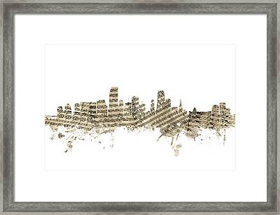 Miami Florida Skyline Sheet Music Framed Print