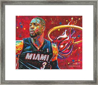 Miami Heat Legend Framed Print by Maria Arango