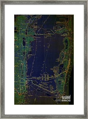 Miami Map 1950 Blue And Green Framed Print by Pablo Franchi