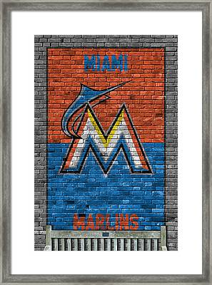 Miami Marlins Brick Wall Framed Print