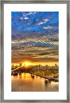 Miami River Sunrise Framed Print by William Wetmore