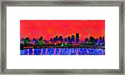 Miami Skyline 10 - Pa Framed Print
