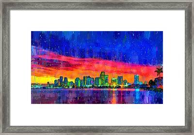 Miami Skyline 100 - Pa Framed Print by Leonardo Digenio