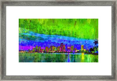Miami Skyline 102 - Pa Framed Print