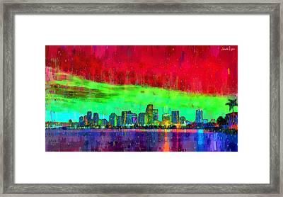 Miami Skyline 109 - Da Framed Print