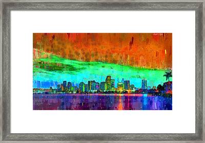 Miami Skyline 110 - Da Framed Print by Leonardo Digenio