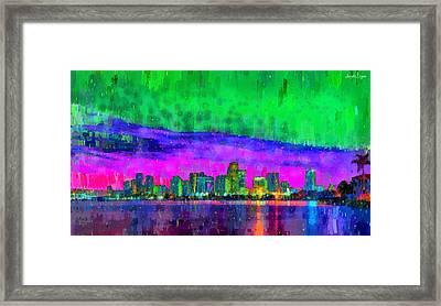 Miami Skyline 113 - Pa Framed Print by Leonardo Digenio