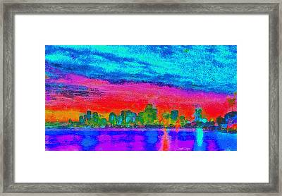 Miami Skyline 161 - Da Framed Print