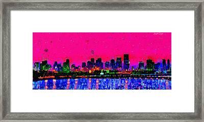 Miami Skyline 23 - Pa Framed Print