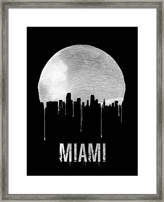 Miami Skyline Black Framed Print