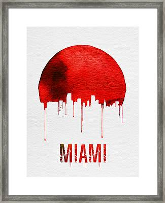 Miami Skyline Red Framed Print