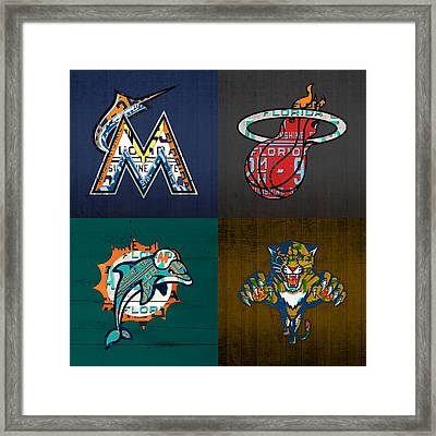 Miami Sports Fan Recycled Vintage Florida License Plate Art Marlins Heat Dolphins Panthers Framed Print