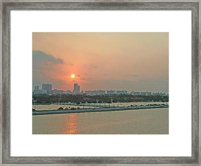 Miami Sunrise Framed Print by Gary Wonning