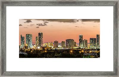 Miami Sunset Skyline Framed Print