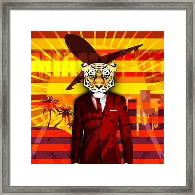 Miami Tiger Framed Print by Gallini Design