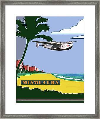 Miami To Cuba, Boeing 314 Clipper Plane, Minimalist Poster Art Framed Print