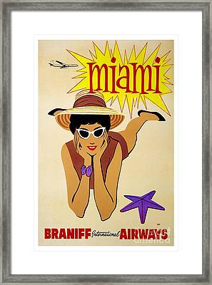 Miami Travel Poster Framed Print by Pd
