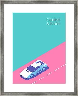 Miami Vice Crockett Tubbs Ferrari Framed Print by Ivan Krpan