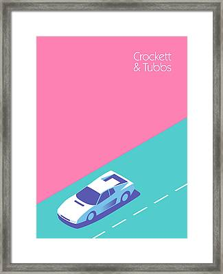 Miami Vice Crockett Tubbs - Magenta Framed Print