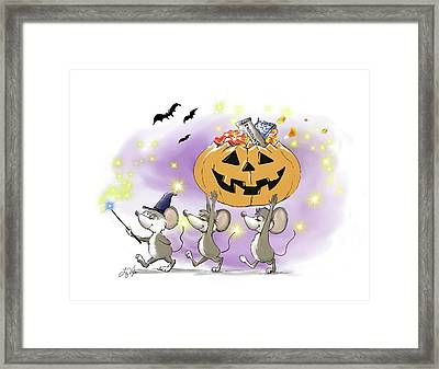 Mic, Mac, And Moe's Happy Halloween Framed Print