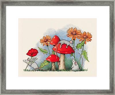 Mice In The Garden Framed Print