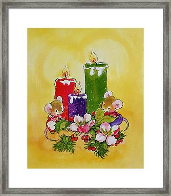 Mice With Candles Framed Print by Diane Matthes