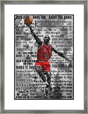 Michael Air Jordan Motivational Inspirational Independent Quotes 2 Framed Print