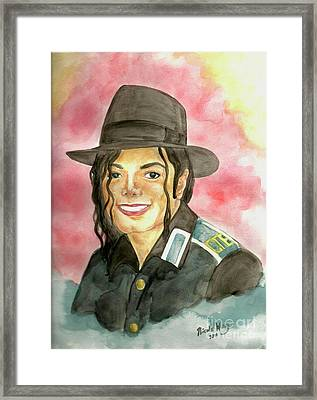 Michael Jackson - A Bright Smile Shining In The Sky Framed Print by Nicole Wang
