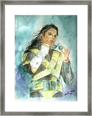 Michael Jackson - Dangerous Tour  Framed Print by Nicole Wang