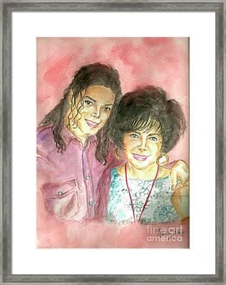 Michael Jackson And Elizabeth Taylor Framed Print