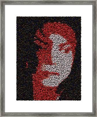 Michael Jackson Bottle Cap Mosaic Framed Print by Paul Van Scott