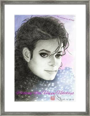 Framed Print featuring the drawing Michael Jackson Christmas Card 2015 - 'his Message Was Love' by Eliza Lo