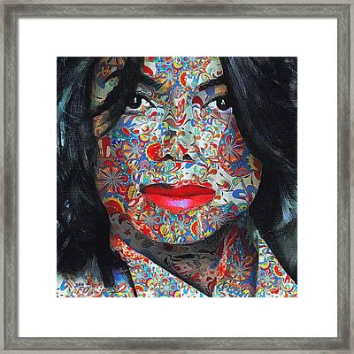Michael Jackson Color Stamp Framed Print