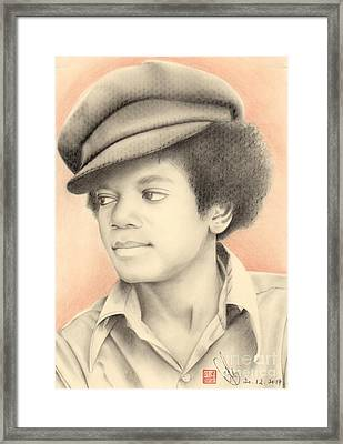 Framed Print featuring the drawing Michael Jackson #eleven by Eliza Lo