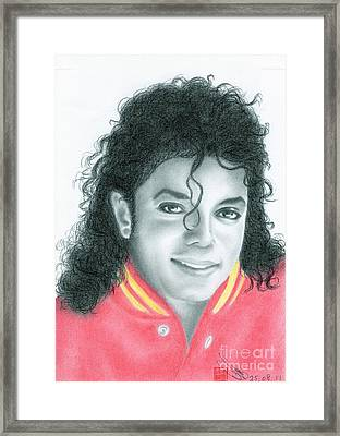 Framed Print featuring the drawing Michael Jackson #seven by Eliza Lo