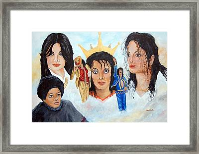 Michael Jackson-faces Framed Print by Janna Columbus