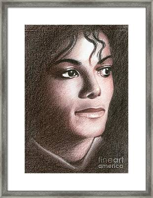 Framed Print featuring the drawing Michael Jackson #fourteen by Eliza Lo