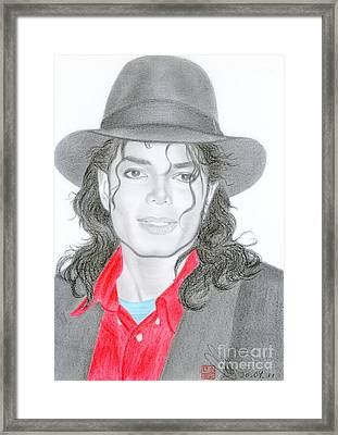 Framed Print featuring the drawing Michael Jackson #nine by Eliza Lo