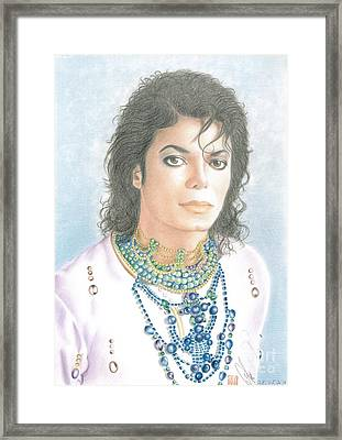 Framed Print featuring the drawing Michael Jackson - Our Beautiful Prince by Eliza Lo