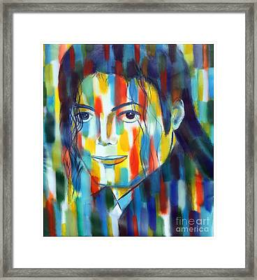 Michael Jackson  The Man In Color Framed Print by Habib Ayat