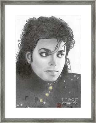 Framed Print featuring the drawing Michael Jackson #thirteen by Eliza Lo