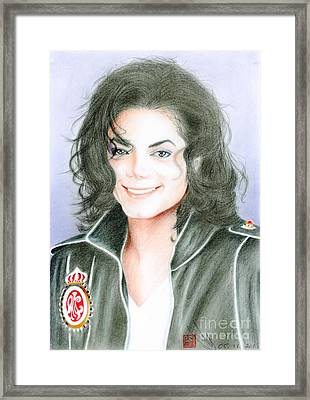 Framed Print featuring the drawing Michael Jackson #twelve by Eliza Lo