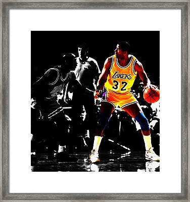 Michael Jordan And Magic Johnson Framed Print by Brian Reaves