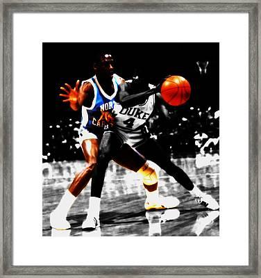 Michael Jordan As A Tarheel Framed Print