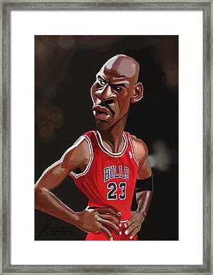 Michael Jordan Caricature Framed Print by Jonathan Pierce